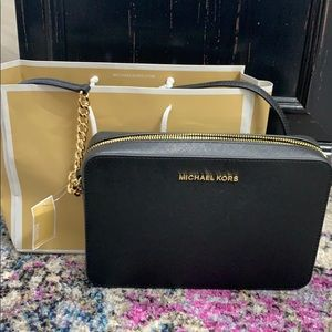 Michael Korda black leather crossbody BNWT